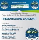 Lunedì 26 febbraio incontro con Fratelli d'Italia